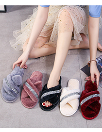 Fashion Rose Red Home Indoor Non-slip Flat-bottomed Cross Woolen Cotton Slippers