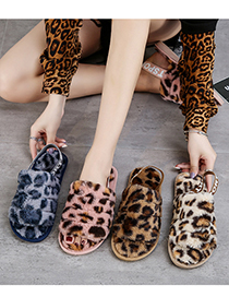 Fashion Brown Leopard Elastic Band Leopard Print Plush Open-toed Flat Slippers