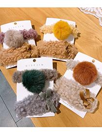Fashion Caramel Hairball Ball Ball Lamb Hair Ribbon Bow Hairpin Hair Rope Set