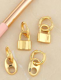 Fashion Lock Geometric Lock Smooth Pig Nose Earrings