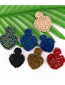 Fashion Blue Trumpet Rice Beads Hand-woven Love Earrings
