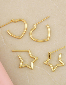 Fashion Five-pointed Star Five-pointed Star Love Heart Gold-plated Copper Earrings