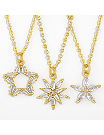 Fashion Astral Flower And Diamond Five-pointed Star Gold-plated Copper Necklace