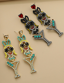 Fashion Ab Color Alloy Diamond Doll Drink Cup Earrings