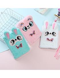 Fashion White Bowtie Bunny Plush Childrens Notebook