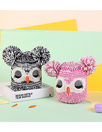 Fashion Pink Thicken Owl Embroidery Childrens Knitted Hat