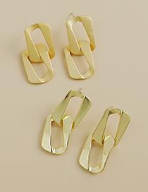 Fashion Gold Color Alloy Matte Square Earrings
