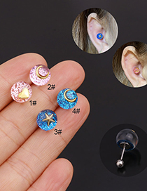Fashion Moon Blue Crystal Stainless Steel Star And Moon Love Earrings