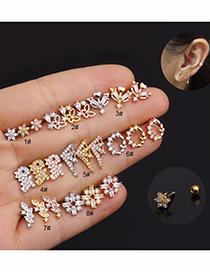 Fashion Dinosaur Rose Gold Stainless Steel Flower Diamond Pearl Butterfly Geometric Earrings