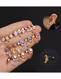 Fashion Round Chain Rose Gold Micro-inlaid Zircon Stainless Steel Geometric Earrings