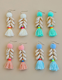 Fashion Pink Alloy Resin Cotton Ball Shell Cotton Thread Earrings