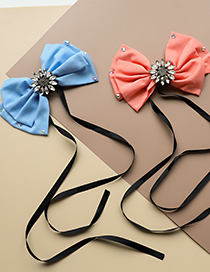 Fashion Blue Fabric Bow Tie Brooch With Diamonds And Flowers