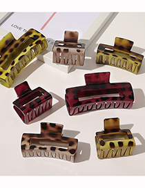 Fashion Small Wine Red Leopard Paint Resin Geometric Hollow Grip
