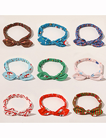 Fashion Kong Lan Christmas Bunny Ears Knotted Print Elastic Headband