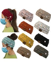Fashion Pure Khaki Dot Yarn Knitted Twist Letter Label Buckle Hollow Top Wool Hat