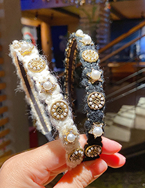 Fashion White Wool Woven Pearl Five-pointed Star Alloy Headband