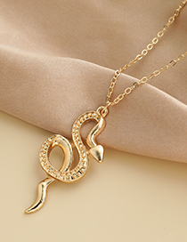 Fashion Gold Color Alloy Chain Snake Pendant Necklace