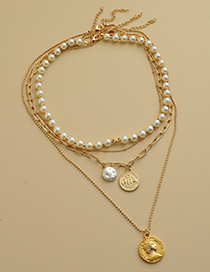 Fashion Gold Color Alloy Pearl Five-pointed Star Portrait Necklace Set
