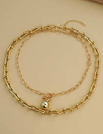 Fashion Gold Color Alloy Chain Double Necklace