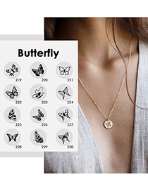 Fashion Gold Color-219 Butterfly Hollow Stainless Steel Necklace (13mm)