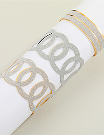 Fashion Openwork Gold Color Circle Three-dimensional Cross Hollow Geometric Carved Bracelet
