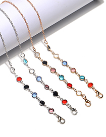 Fashion Silver Color Thin Chain Crystal Beaded Glasses Chain