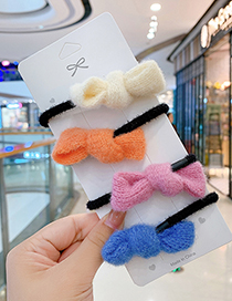 Fashion Pink Childrens Wool Bowknot Hair Rope