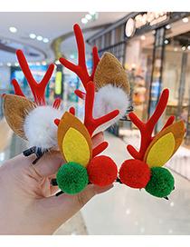 Fashion Ball Ball Red Antlers Christmas Princess Elk Antlers Children Hairpin