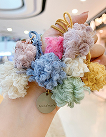 Fashion Blue Ball-hair Rope Ball Plush Contrast Color Alloy Hair Rope