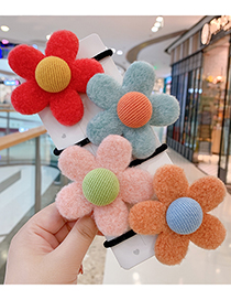 Fashion Pink Flowers-hair Rope Plush Flower Contrast Color Childrens Hair Rope