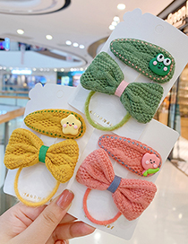 Fashion Pink Bow Hair Rope + Pink Bunny Hairpin Woolen Pearl Bowknot Geometric Childrens Hair Rope Hairpin