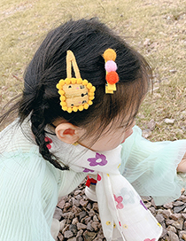 Fashion Two-piece Bow Hairpin Set [blue] Lion Bowknot Ball Hit Color Alloy Childrens Hairpin