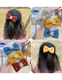 Fashion Blue Bow-hairpin Knitted Yarn Bow And Pearl Flower Hairpin