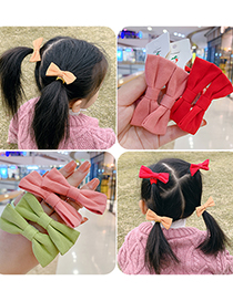Fashion 1 Pair Of Purple Bow Hair Rope Bowknot Fabric Childrens Hair Rope