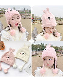 Fashion Beige Bunny 1 To 6 Years Old Bunny Fur Ball Children Hat