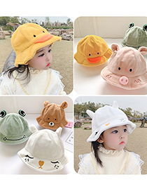 Fashion Ducklings 1 To 6 Years Old Cap Circumference Is About 53cm Stuffed Piggy Embroidery Animal Fisherman Hat
