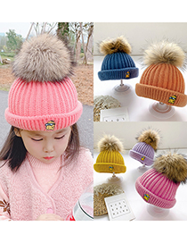 Fashion Pink 0-4 Years Old One Size Knitted Woolen Yellow Man Embroidery Childrens Hat