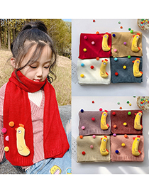 Fashion Wine Red 6 Months-12 Years Old Chick Knitted Wool Scarf