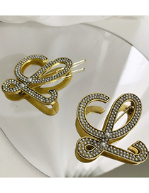 Fashion Brooch Geometric Pearl Letters Alloy Brooch Hairpin