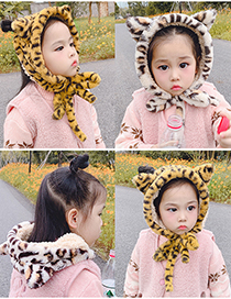Fashion Gray Leopard Print Recommended For 2-12 Years Old Leopard Print Plush Strap Childrens Earmuffs