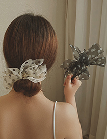 Fashion Black Butterfly Dot Printed Meatball Head Hair Tie Artifact