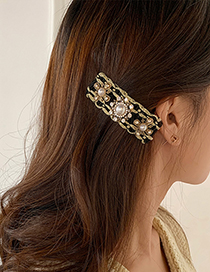 Fashion White Multilateral Flower Hairpin Pearl Diamond Flower Geometric Alloy Hairpin