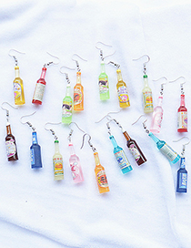 Fashion Yellow Wine Bottle Simulation Resin Alloy Earrings