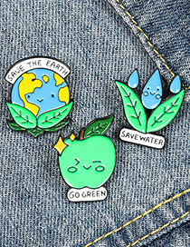 Fashion Text Save Water Protect The Earth Protect The Earth Paint Enamel Brooch