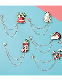 Fashion Snowman Christmas Series Chain Gift Snowman Socks Brooch