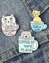 Fashion Cat Blue Dripping Lacquer Coffee Cup Coffee Pot Cat Alloy Enamel Cat Brooch