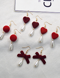 Fashion Red Heart Pearl Shaped Love Bow Resin Alloy Earrings
