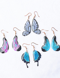 Fashion Blue Section Two Hand Made Transparent Tulle Butterfly Wings Earrings