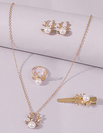 Fashion Golden Alloy Pearl Christmas Elk Diamond Ring Earring Hairpin 5-piece Set