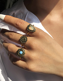 Fashion Golden 3-piece Alloy Geometric Ring